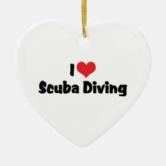 Ornamento De Cerâmica Eu amo o mergulho autónomo do coração - amante do