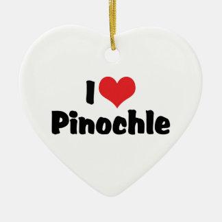 Ornamento De Cerâmica Eu amo o Pinochle do coração