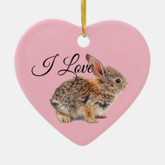 Ornamento De Cerâmica Eu amo o rosa dos coelhos