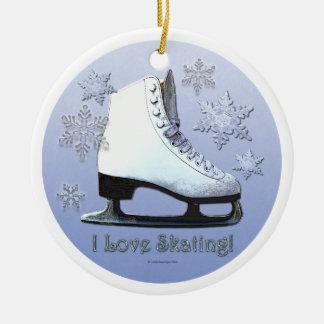 Ornamento De Cerâmica Eu amo patinar