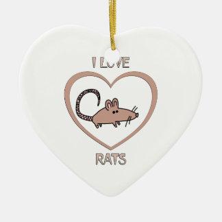 Ornamento De Cerâmica Eu amo ratos