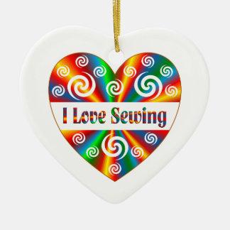 Ornamento De Cerâmica Eu amo Sewing