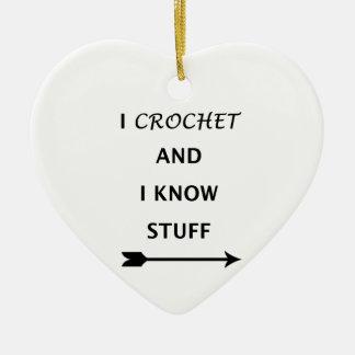 Ornamento De Cerâmica Eu Crochet e eu sei o material