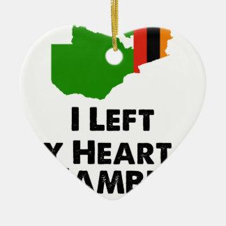 Ornamento De Cerâmica Eu deixei meu coração na Zâmbia