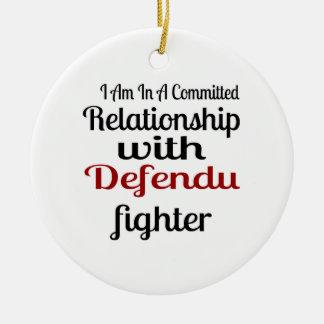 Ornamento De Cerâmica Eu estou em uma relação cometida com Defendu Figh