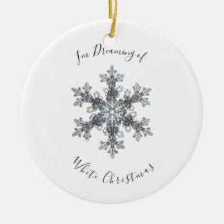 Ornamento De Cerâmica Eu estou sonhando de um Chritmas branco