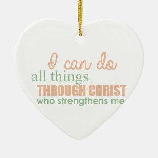 Ornamento De Cerâmica Eu posso fazer todas as coisas com o cristo que