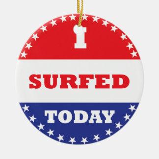 Ornamento De Cerâmica Eu surfei hoje