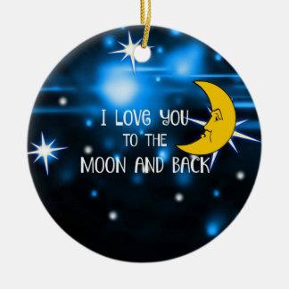 Ornamento De Cerâmica Eu te amo à lua e à parte traseira, design