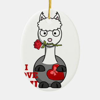 Ornamento De Cerâmica eu te amo alpaca