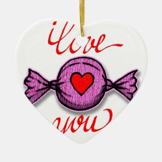Ornamento De Cerâmica Eu te amo (doces cor-de-rosa)