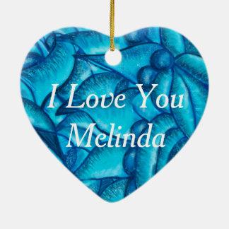 Ornamento De Cerâmica Eu te amo pendente personalizado azul do coração