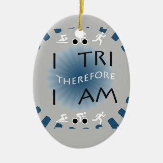 Ornamento De Cerâmica Eu tri conseqüentemente mim sou Triathlon