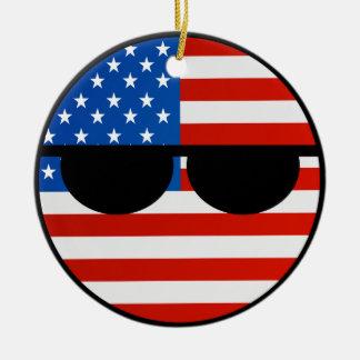 Ornamento De Cerâmica EUA Geeky de tensão engraçados Countryball