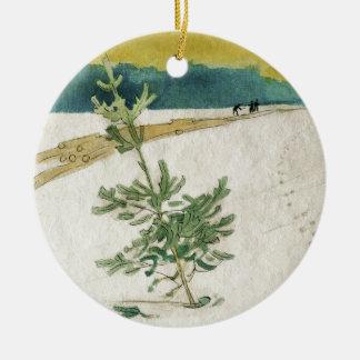 Ornamento De Cerâmica Evergreen na neve