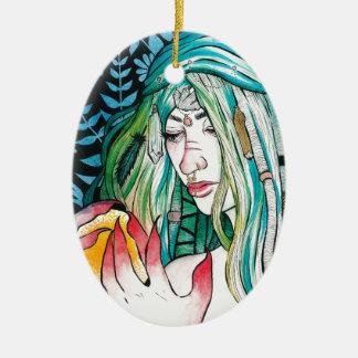 Ornamento De Cerâmica Evergreen - retrato da aguarela