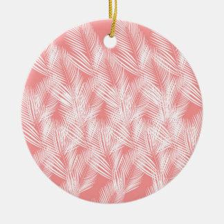 Ornamento De Cerâmica Exotico do branco do rosa das palmas do design