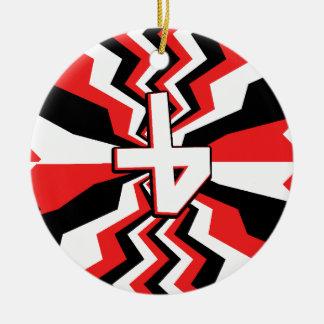 Ornamento De Cerâmica Explosão vermelha, preta, & branca do ziguezague