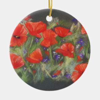 Ornamento De Cerâmica Exposição vermelha selvagem das papoilas