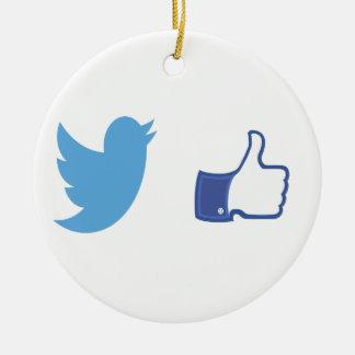 Ornamento De Cerâmica Facebook Twitter