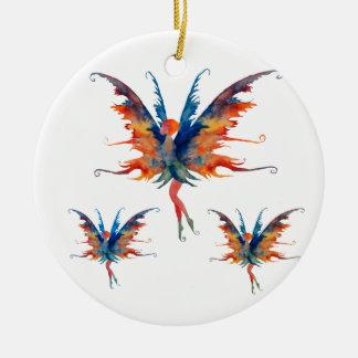Ornamento De Cerâmica Fada com a decoração cerâmica das asas