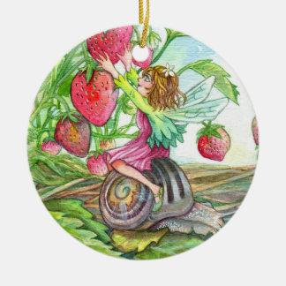 Ornamento De Cerâmica Fada da morango