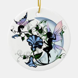 Ornamento De Cerâmica Fada da sombra da corriola e gato cósmico
