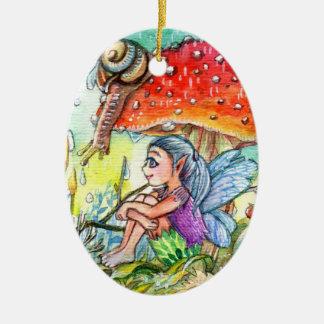 Ornamento De Cerâmica Fada e o caracol