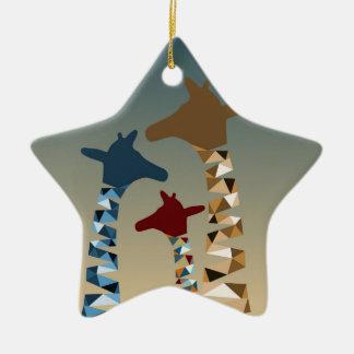 Ornamento De Cerâmica Família colorida abstrato do girafa