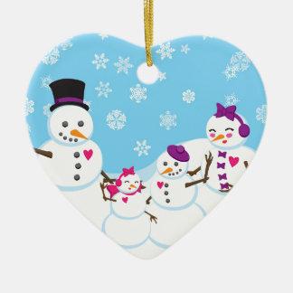 Ornamento De Cerâmica Família da neve do inverno