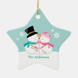 Ornamento De Cerâmica Família do boneco de neve de três feriados do