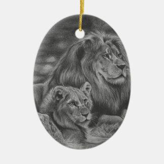 Ornamento De Cerâmica Família do leão