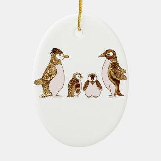 Ornamento De Cerâmica Família dos pinguins