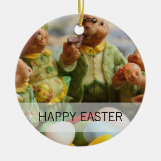 Ornamento De Cerâmica Família e ovos do coelho de coelhinho da Páscoa
