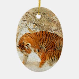 Ornamento De Cerâmica Família em um blizzard - PaintingZ do tigre
