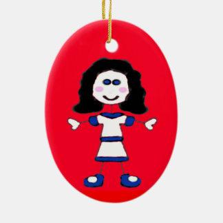 Ornamento De Cerâmica Família média da vara da menina