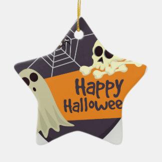 Ornamento De Cerâmica Fantasmas felizes e Crossbones do Dia das Bruxas