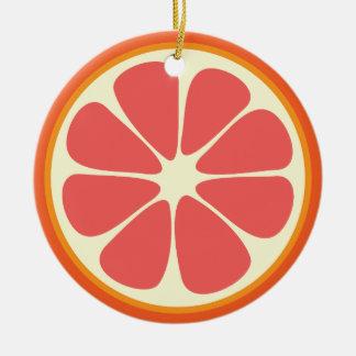 Ornamento De Cerâmica Fatia doce suculenta dos citrinos da toranja