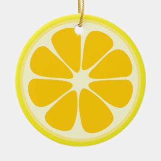 Ornamento De Cerâmica Fatia suculenta bonito da fruta tropical do limão