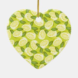 Ornamento De Cerâmica Fatias e folhas amarelas do limão do verão no