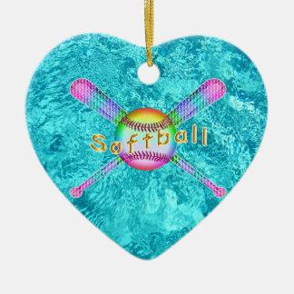 Ornamento De Cerâmica Favoritos para festas bonitos super do softball