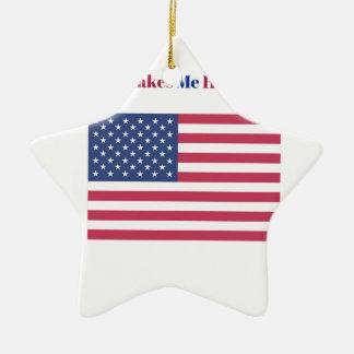 Ornamento De Cerâmica Faz-me a bandeira americana feliz