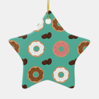 Ornamento De Cerâmica Feijões da rosquinha e de café