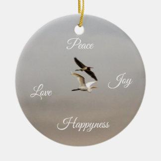 Ornamento De Cerâmica Felicidade do amor da alegria da paz da foto dos
