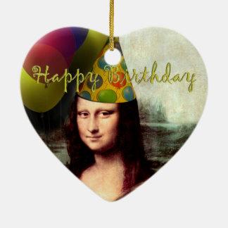 Ornamento De Cerâmica Feliz aniversario Mona Lisa