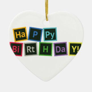 Ornamento De Cerâmica Feliz aniversario periódico