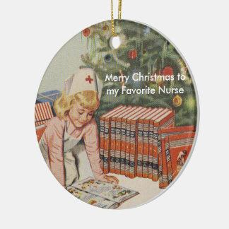 Ornamento De Cerâmica Feliz Natal a minha enfermeira favorita - retro