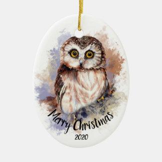 Ornamento De Cerâmica Feliz Natal bonito datado feito sob encomenda do