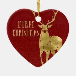 Ornamento De Cerâmica Feliz Natal cervos & foto