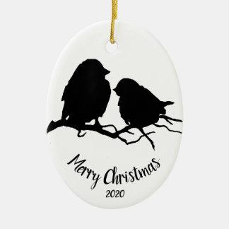 Ornamento De Cerâmica Feliz Natal datado do casal do pássaro da aguarela